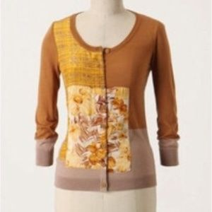 Anthropologie Guinevere Charmeuse Splice cardigan